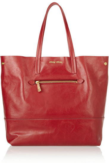 Miu Miu Red Expandable Leather Tote
