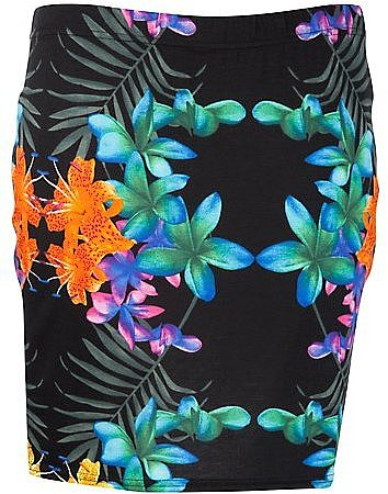 Inspire Black Tropical Print Mini Skirt