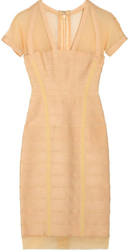Hervé Léger Double-strap mesh bandage dress
