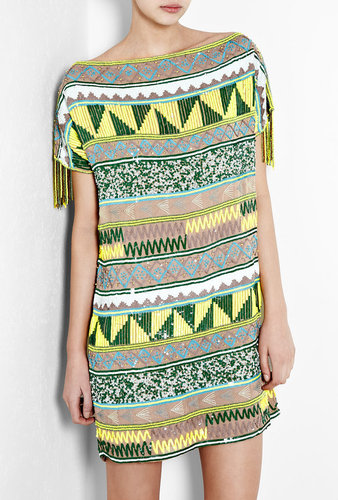 Antik Batik Jacara Aztec Beaded Mini Dress