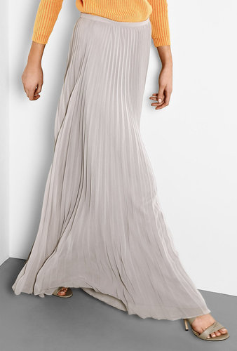 Halston Heritage Grey Pleated Maxi Skirt