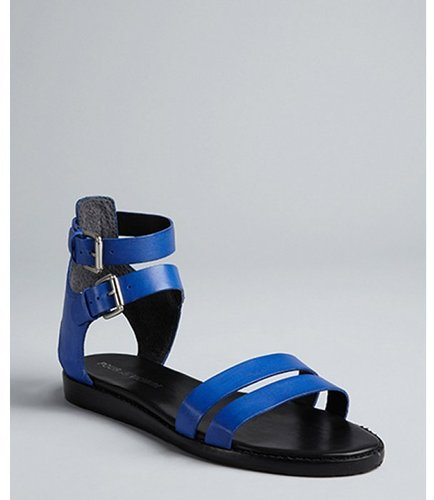 Pour la Victoire cobalt leather double buckle straps 'Edilia' flat gladiator sandals
