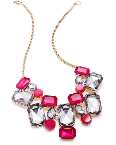 INC International Concepts Necklace, Gold-Tone Pink Crystal Stone Bib Necklace