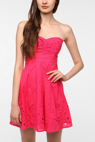 Pins and Needles Cotton Eyelet Strapless Dress