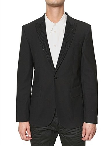 John Richmond - Strass Collar & Stretch Wool Cloth Jacke
