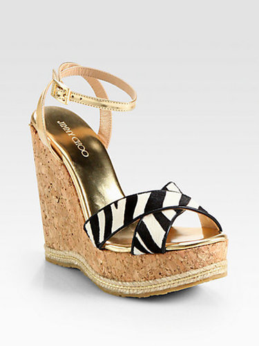 Jimmy Choo Papahi Zebra-Print Pony Hair Cork Wedge Sandals