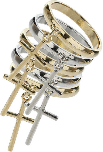 Cross Charm Stack Ring