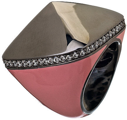 Lauren G Adams Pink Ruthenium Pyramid Pave Cocktail Ring