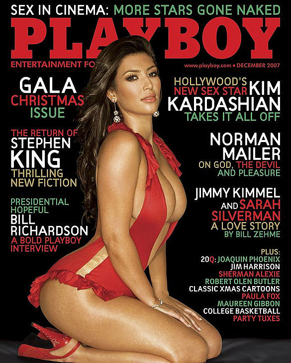 Mom Kris convinced Kim Kardashian to pose for the December 2007 issue, and the photo shoot was documented on their family's reality show.