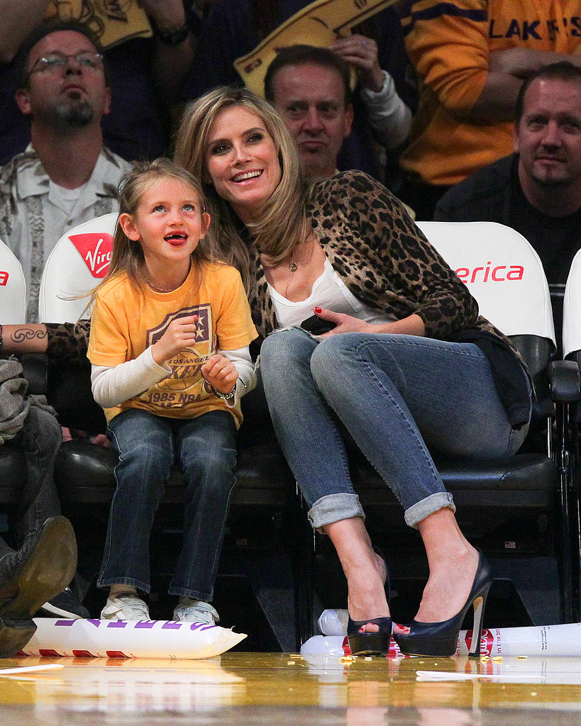 Heidi Klum and her daughter Leni Samuel watched the Lakers play the New Orleans Hornets in January 2011.