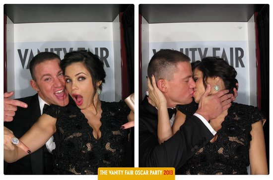 Channing Tatum and Jenna Dewan posed in Vanity Fair's Oscars party photo booth in February.