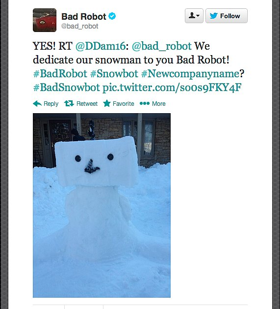 Future Star Wars director J.J. Abrams considers renaming his studio Bad Snowbot.