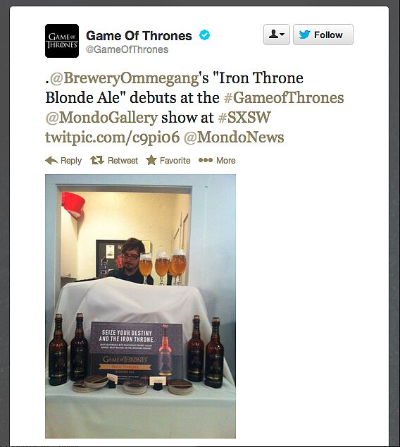 Game of Thrones gets its own blonde ale, courtesy of Brewery Ommegang. Does this mean Daenerys Targaryen is the rightful successor to the Iron Throne?