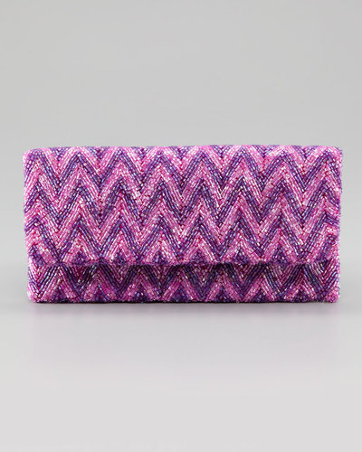 Moyna Fold-Over Zigzag Silk Clutch Bag