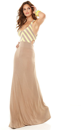 Bar III Dress, Sleeveless Scoop Neck Striped Cutout A Line Maxi