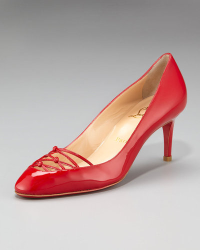 Christian Louboutin Knotted-Vamp Pump, Red