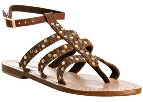 Mystique brown leather studded gladiator sandals