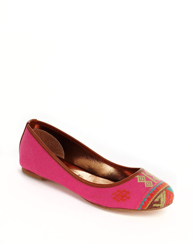 12TH STREET BY CYNTHIA VINCENT Sage Embroidered Fabric Ballet Flats