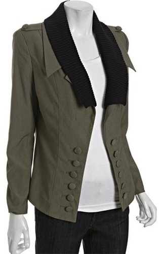 Wyatt olive stretch knit collar military jacket