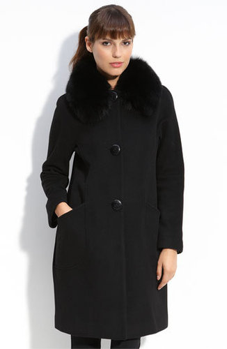 Trina Turk Coat with Detachable Fox Fur Collar