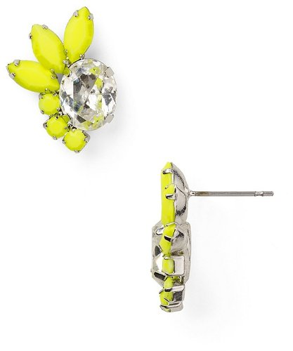 Aqua Yellow Crystal Stud Earrings
