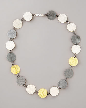 Gurhan Mixed-Metal Hammered Disc Necklace
