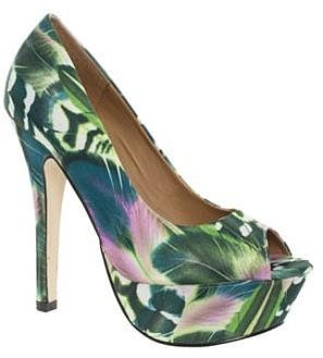 Green Floral Peep Toe Platform Court Shoes