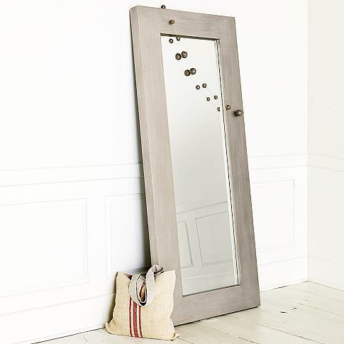 Chunky Wood Floor Mirror - Silver