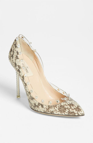 Valentino &#039;Rockstud&#039; Snakeskin Pump