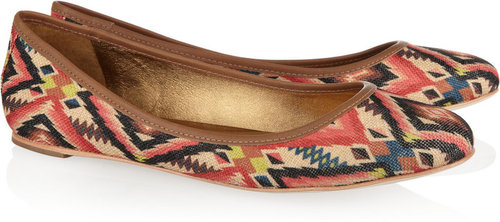 12th Street by Cynthia Vincent Sage printed canvas ballet flats