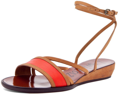 Lanvin Stripe Sandal in Red