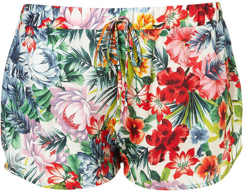 Tropical Floral Print Running Shorts
