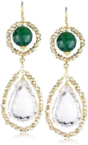 Amanda Rudey &quot;Divas and Heroines&quot; Emerald Jade Lily Earrings