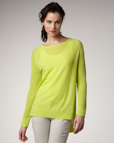 Theory Perforated-Sleeve Sweater