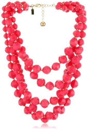 "Kate Spade New York ""Cut To The Chase"" Bright Pink Bib Necklace"