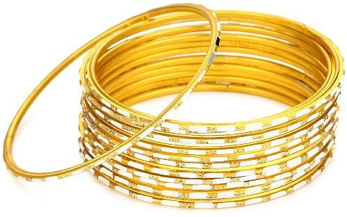 Chamak By Priya Kakkar Thin Gold Base Metal with Silver Etchings Bangle Bracelet Set