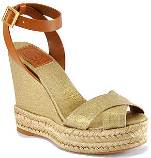 Tory Burch - Fabian - Gold Linen Criss-Cross Espadrille Wedge