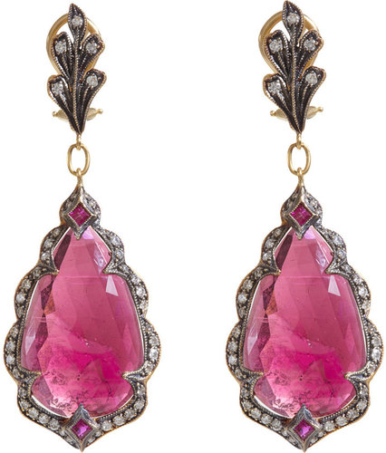 Cathy Waterman Pink Sapphire Arabesque Frame Earrings