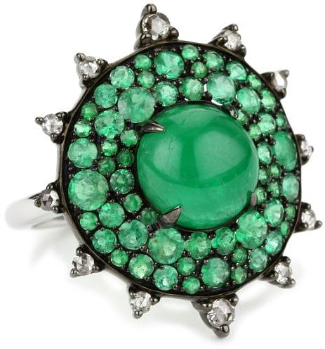 Nam Cho &quot;Bull&#039;s Eye&quot; Cocktail Ring with Neon Emeralds in 18k