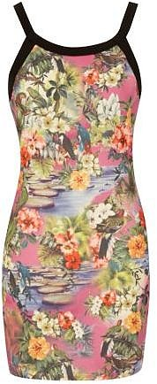 Be Beau Tropical Print Mesh Body-Con Dress