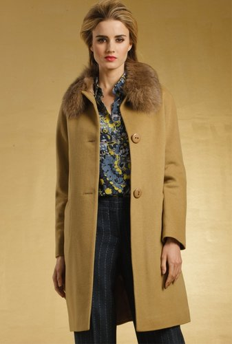 Trina Turk Kathleen Fur Collar Coat
