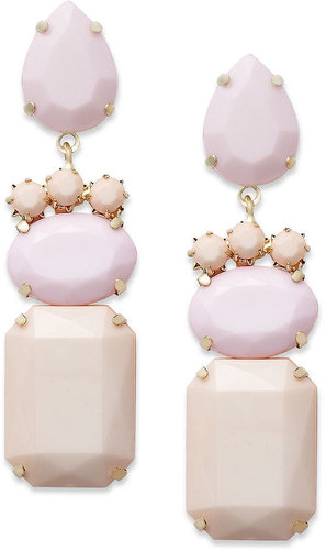 Bar III Earrings, Gold-Tone Pink Opaque Stone Drop Earrings