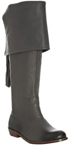 Mea Shadow grey leather cuffed 'Noa' tall riding boots