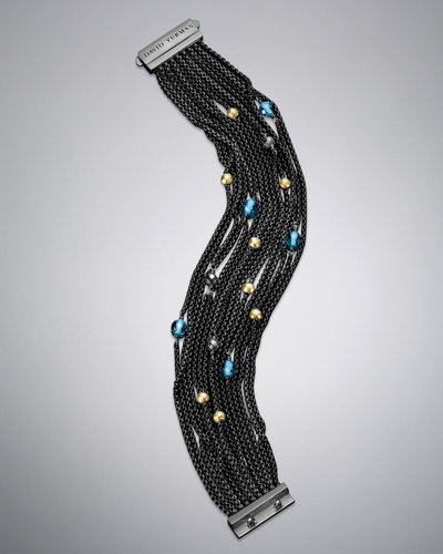 David Yurman Multi-Row Chain Bracelet, Blue Topaz