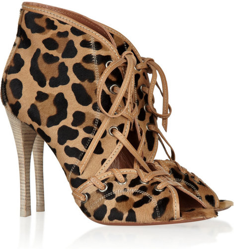 Alaa Leopard-print calf hair ankle boots
