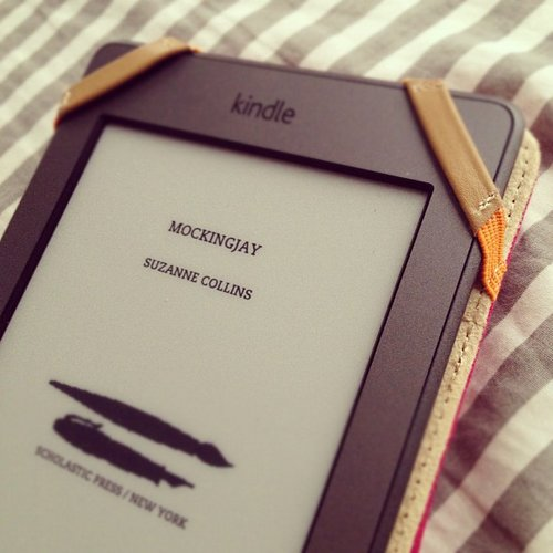I read Suzanne Collins's last book in The Hunger Games trilogy, Mockingjay, on my Kindle.