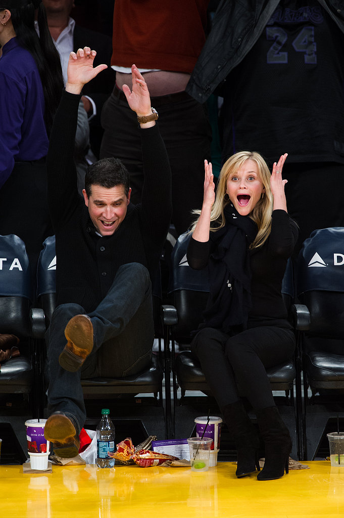 Reese Witherspoon and her husband, Jim Toth, rooted for the Lakers.