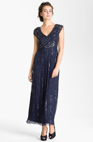 Patra V-Neck Embellished Silk Chiffon Gown