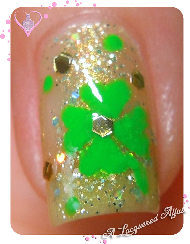 St. Patrick's Day nail art - The Four-Leaf Clover