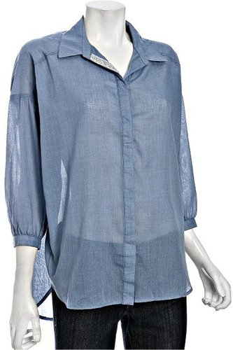 Romeo & Juliet Couture blue chambray sequin lapel oversized shirt